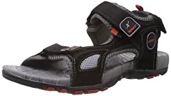 Sparx Mens Black and Red Nylon Sandals and Floaters - 7 UK