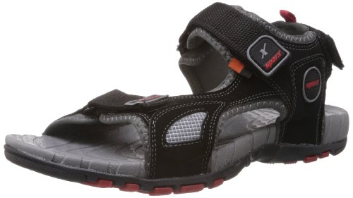 Sparx-Mens-Black-and-Red-Nylon-Sandals-and-Floaters-8-UK