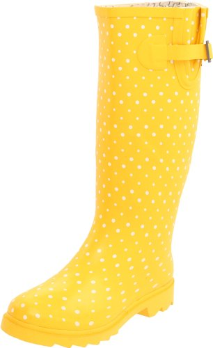 Chooka Women's Posh Dots Rain Boot, Yellow, 6 M US