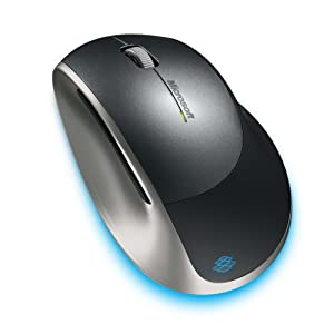 Microsoft 2.4GHz Wireless BlueTrack Technology Laser Explorer Mouse with 30-Foot Range and Easy Battery Recharging Base (5AA-00001).