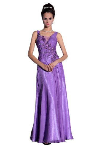 CharliesBridal Chiffon Scoop Neck Floor Length Evening Gown - L - Lilac