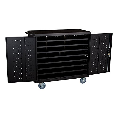 Learniture 24-Outlet Extra-Wide Locking Laptop/Tablet Unassembled Charging Cart, Black, NOR-GNO1006-PK-SO