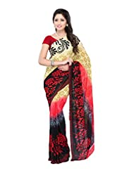 Ethnic Wear Red & Brown Georgette Printed Saree