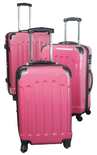 PM Polycarbonat-ABS-Kofferset rosa, 3tlg.