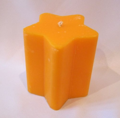 """Hand Poured Star Smooth Pillar 3.5x3"""" Wax Candle, Orange, Lime Scented"""