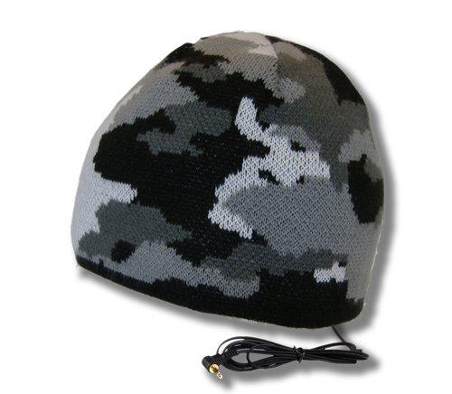 Tooks Brigade Camo Headphone Audio Beanie Hat With Built-In Removable Headphones - Color: Black Hawk, Unique Gift Idea