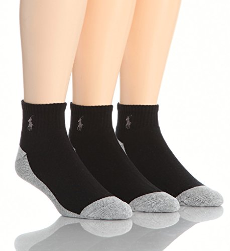 Polo Ralph Lauren Rib Top Split Color Cushioned Foot 3 Pack Sock (824003) one size/Black/Grey