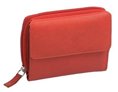 Porte-monnaie pour femme OTARIO, cuir véritable, rouge 12x10cm