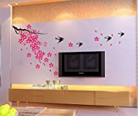 eFuture(TM) Hot Pink Cherry Blossoming Wall Sticker Decor Wall Decal - Cherry Blossom, Birds +eFuture's nice Keyring by eFuture