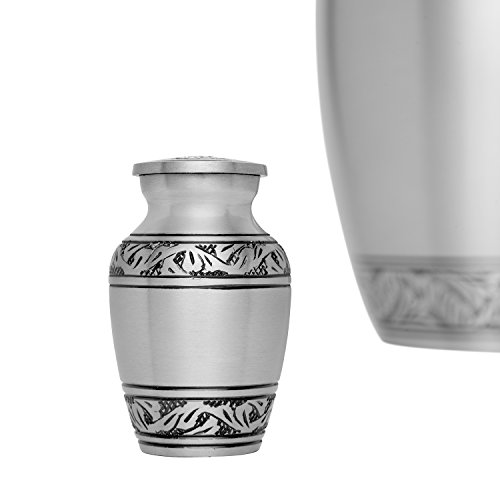 Funeral Keepsake Urn by Liliane - Cremation Urn for Human Ashes - Hand Made in Brass and Hand Engraved - Fits small amount of Cremated Remains - Lauriers Keepsake in Pewter Finish (Urn For Human Ashes Small compare prices)