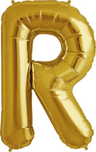 Letter R - Gold Helium Foil Balloon - 34 inch