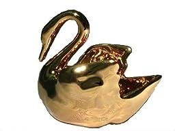 Vintage Limoges France 22k Gold Plated Porcelain Swan