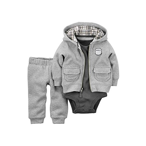 Carter's Bodysuit, Pants and Hoodie -3-piece Hooded Fleece Cardigan Set Baby Boys 9m
