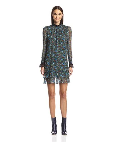 Anna Sui Women's Flower Berry Print High Neck Dress