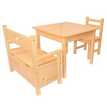 Cassapanca Legno Per Bambini.Mobili In Legno Di Pino Per Bambini Set Tre Pezzi Tavolino Sedia E