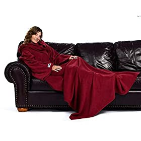 Its a blanket with sleeces - basically a long, fleece robe you put on backwards - apparently made for imbeciles that find blankets too difficult to maneuver.