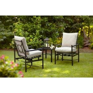 PATIO FURNITURE OUTDOOR LAWN & GARDEN HAMPTON BAY BARNSLEY WITH BEIGE SILVER PEBBLE TEXTURED CUSHIONS 3 PC