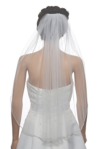 1T 1 Tier Double Row Alternating Crystal Beaded Veil - Ivory Fingertip 36