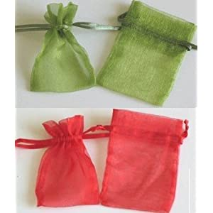 Christmas Holiday Red & Green Organza Favor Bags 3