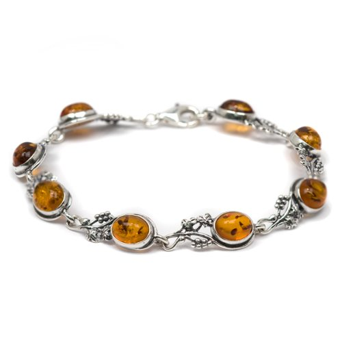 Honey Amber and Sterling Silver Grape Vine Link Bracelet, 7.5