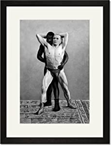 Black Framed/Matted Print 17x23, Champion Russian Wrestler