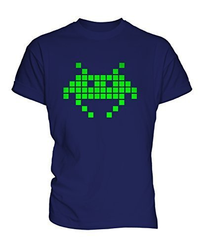 Neon Space Invader Mens Retro T-Shirt Top, Size Large,