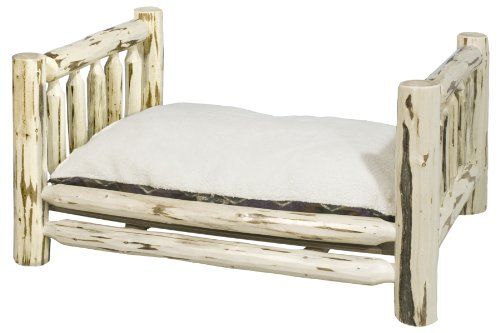 Montana Woodworks Montana Collection Large Pet Bed With 30 By 40-Inch Mattress, Clear Lacquer Finish