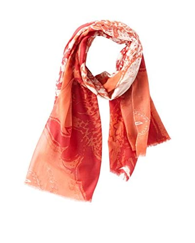 Elie Tahari Women's Washed Paisley Printed Scarf, Coral