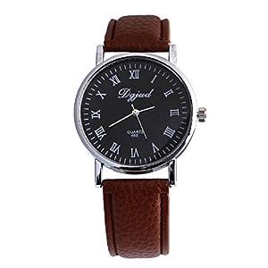 Neutral Black Faux Leather Luxury Sport Analog Quartz Wrist Watch New