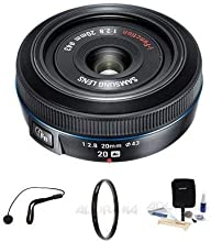 Samsung 20mm f28 NX Pancake Lens for NX Series Digital Cameras - Bundle - with Tiffen 43mm UV Filter