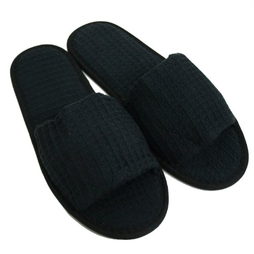 Waffle Open Toe Adult Slippers Cloth Spa Hotel Unisex Slippers for Women and Men Black (Slippers Hotel compare prices)