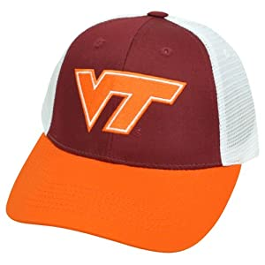NCAA Mesh Twill Snapback Two Tone Curved Adjustable Hat Cap Virginia Tech Hokies by Captivating Headgear