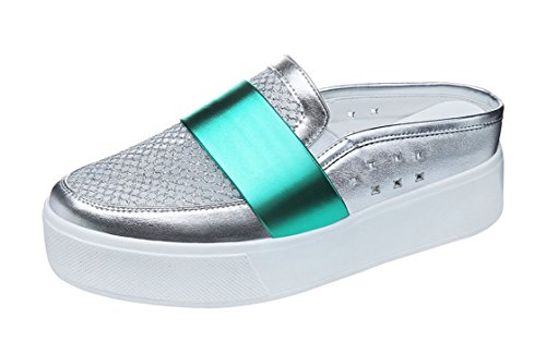 PerfectAZ Women Fashion Summer Breathable Mesh Slip On Round Toe Platform Sandals Slippers(8 B(M) US, Silver)