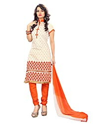 7 Colors Lifestyle Offwhite Coloured Embroidered Chanderi Unstitched Dress Material
