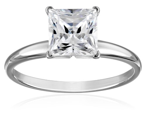 14k White Gold Princess-Cut Solitaire Ring, Made with Swarovski Zirconia (2 cttw), Size 8