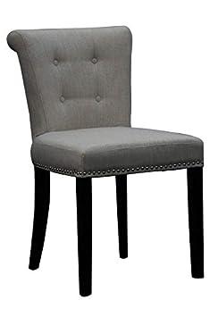 Shankar Sandringham gris sillón de lino, tamaño: H 86 cm, W 50 cm, D 60 cm