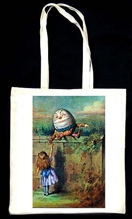 Alice in Wonderland Humpty Dumpty colorful vintage illustration TOTEBAG