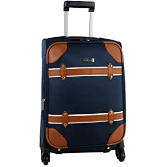 Anne Klein Luggage Vintage Edition 20 Inch Expandable Spinner, Navy, One Size