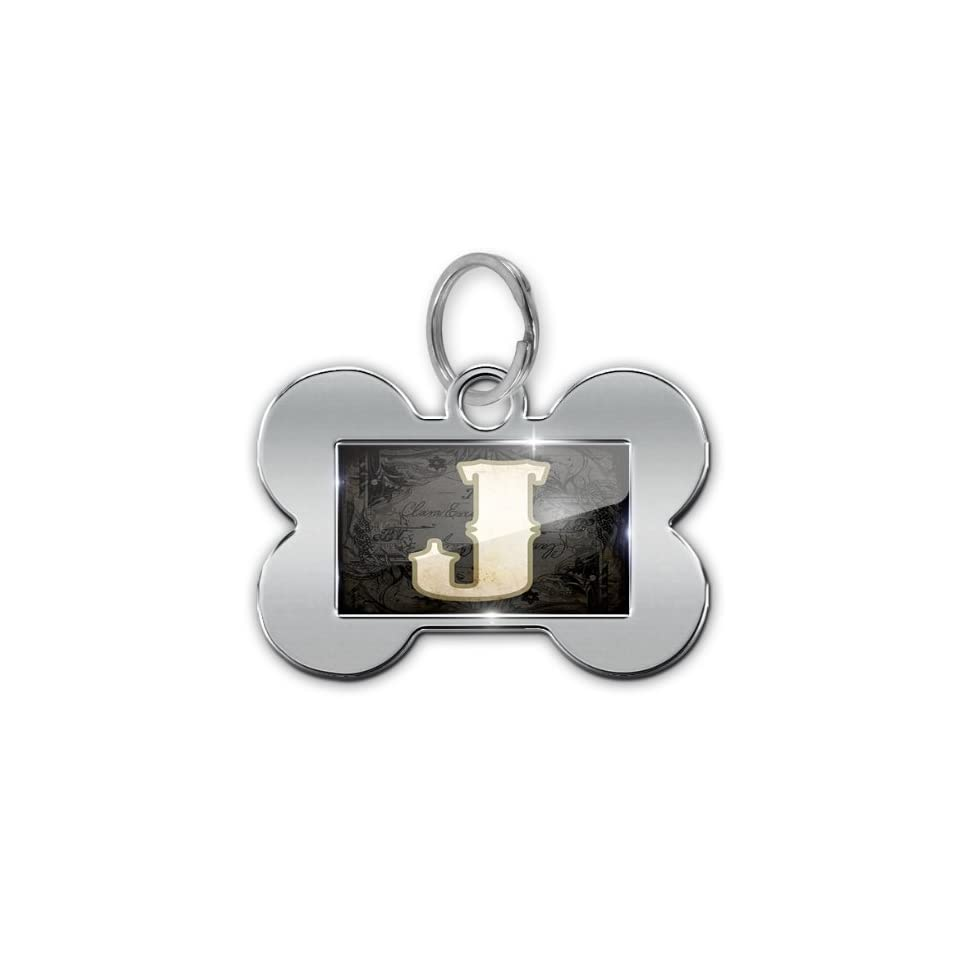 "Dog Bone Pet ID Tag ""characters, letter ""J"" WildWestBlack   Neonblond  Pet Identification Tags"
