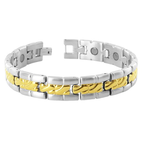 10 MM Wide Two Tone Finish Mens Titanium Magnetic Link Bracelet 8″ Long with Fold over Clasp