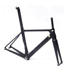3k Full Carbon Matt Road Bike Frameset : 56cm Frame Fork Seatpost Clmap