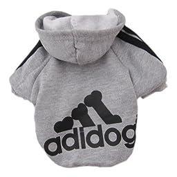 Zehui Pet Dog Cat Sweater Puppy T Shirt Warm Hoodies Coat Clothes Apparel Grey S