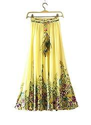 Isha Enterprise Women's Yellow Georgette Party Wear Skirt