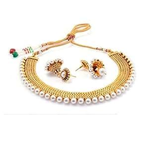 Zeneme white pearl choker necklace earrings set for women for Selling jewelry on amazon
