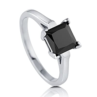 BERRICLE Sterling Silver Princess Black Cubic Zirconia CZ Solitaire Promise Engagement Wedding Ring