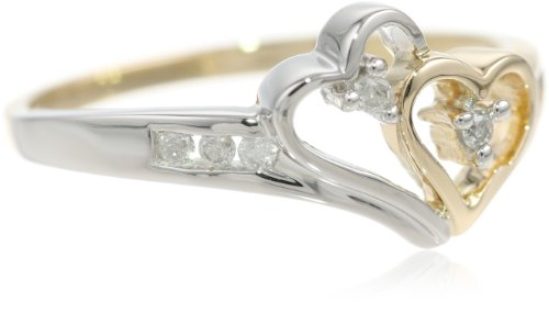 14k Two-Tone Diamond Heart Ring (1/10 cttw, H-I
