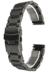 BABAN 18-24mm Stainless Steel Watch Band Strap Double Button Fold Clasp Buckle Lock Flip