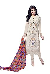 Subhash Sarees Daily Wear White Color Fox Georgette Salwar Suit Dress Material