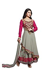 SK Creation Rimi Sen Grey And Pink Neck Embroidered Semi Stitched Long Anarkali Suit