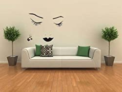 Peel N Stick DARK BEAUTY Girls Face and Butterflies Wall Decal Sticker for Home